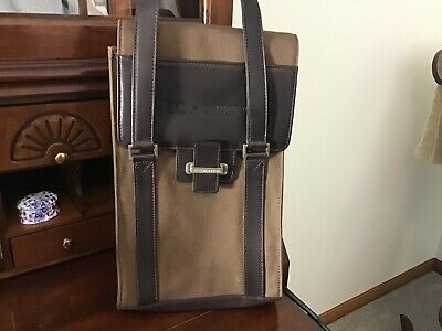 Cutter Buck Brown Double Wine Valet Carrier Tote Leather & Canvas