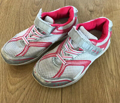 Girls Trainers - White/Pink - M&S UK Jnr Size 10 - VGC