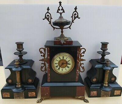 ANTIQUE FRENCH MARBLE CLOCK GARNTIURE URNS CANDLE HOLDERS ROGUE MARBLE c1880