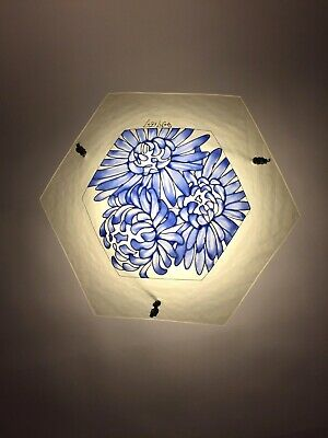 1920s French glass ceiling light shade by Loys Lucha Art Deco antique original