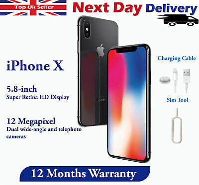 Apple iPhone X 64GB 256GB Unlocked Smartphone Sim Free Silver / Space Grey