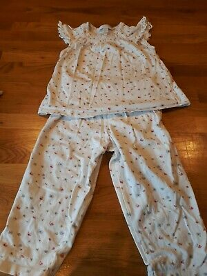 The Little White Company Girls Pyjamas White With Flowers Age 12-18 months