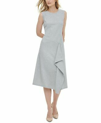 Calvin Klein Womens Raised Stripe Gray Ruffle Midi Dress All Sizes