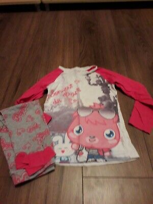 girls pink poppit,moshi monster pyjamas age 4-5 years from george