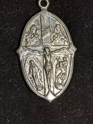 VTG Japan Jesus Medal 4-Way St. Christopher Surfers Mary Mirac 6.7g BEAUTY 1.5""