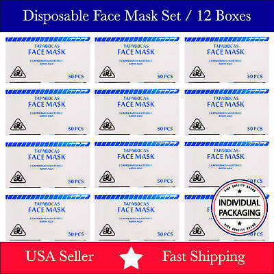 12 Boxes / 600 PCS Disposable Face Mask 3-Ply Ear Loop Surgical Medical White