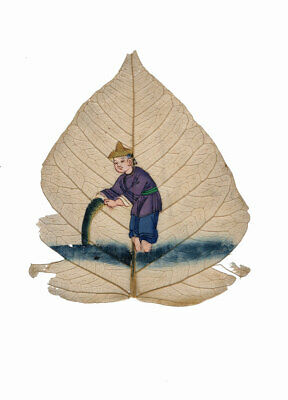 Antique 19th-century Chinese Peepal Leaf Painting – Fisherman with Net