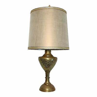 Mid Century Classic Form Indian Floral Etched Brass Urn Table Lamp, L. R. Foss