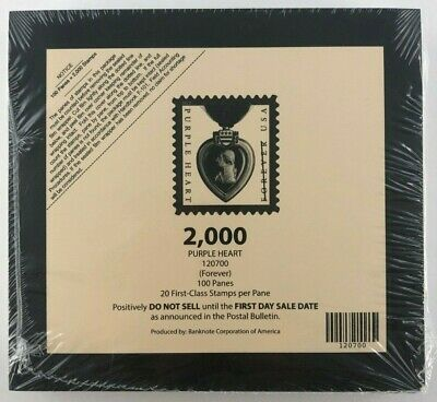 USPS Purple Heart Medal (FOREVER) 100 Panes of 20 Stamps = 2,000 Stamps - New