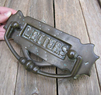 Original Antique Unusual Brass Letter Box Plate with Door Knocker / Mail box