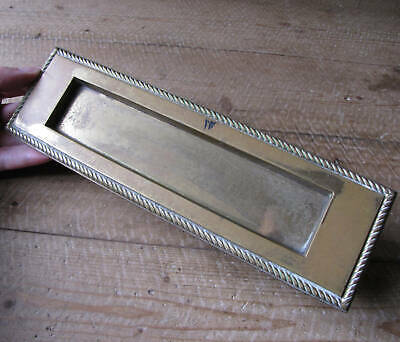 Vintage Reclaimed Brass Rope Edge Border Letter Box Plate / Door Mail Slot