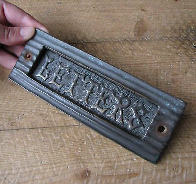 Old Brass Letter Box Plate WORKING SPRING / Door Mail Slot / Mail Box