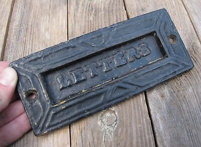 Antique Unusual Small Cast Iron Letter Box Plate / Door Mail Slot / Mailbox