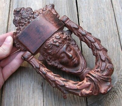 Large Ornate Heavy Cast Iron Door Knocker Antique STYLE