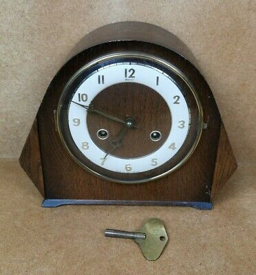 Andrew Vintage Quality Wooden Chime Mantel Striking Clock with Key - Working