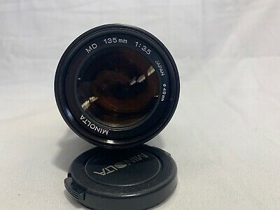 MINOLTA MD 135mm 1:3.5 JAPAN lens with front and rear caps