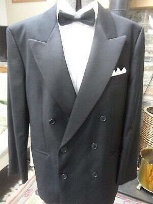 Marks and Spencer Black Dinner Jacket Tuxedo Double Breasted Wool Size 42R M