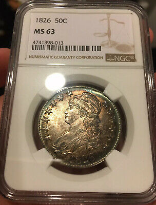 1826 Capped Bust Half Dollar NGC MS63 Lustrous Well Struck Colorful Rim Toning