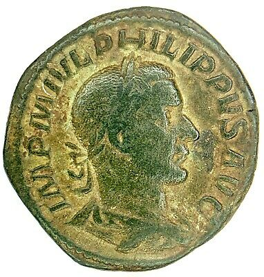 Ancient Roman Bronze Philip I Sestertius; Very Scarce Type! 244-249 A.d. Nice!