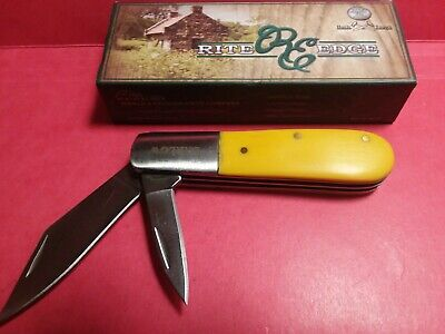 "LOT 221 Barlow 3 1/2"" 2-Blade Pocket Knife by Rite Edge #210601-YW Yellow Handle"