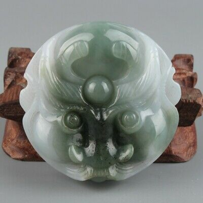 Chinese Exquisite Hand carved Jadeite jade buckle statue