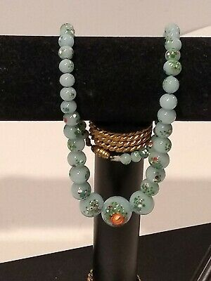 "Antique Light Green Graduated Jade Cloisonne 17"" Necklace"