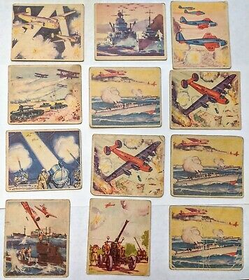 Lot of 11 1938 Goudey Action Gum WWII Collector's Cards-Poor to Good