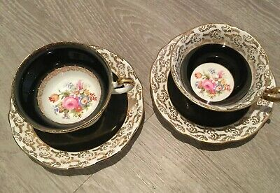 Pair Vintage Rare FOLEY China Cup & Saucers.