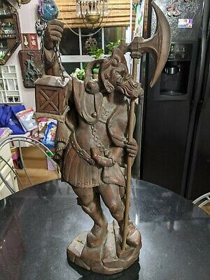 Incredible Antique Black Forest Carved Wood Figurine