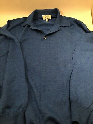 Brioni For Neiman Marcus - 100% Lana Wool- Men's Blue Sweater - Size XL - Italy