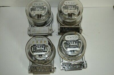 4 Westinghouse WattHour Electric Meters With Glass Dome