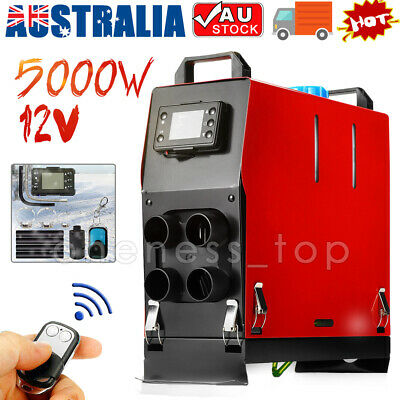 All IN One 5KW 12V Diesel Air Heater Thermostat Caravan Motorhome RV Boats AU