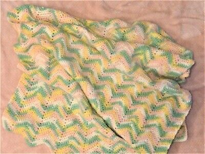 """Hand-Knit Multi-Colored Baby Blanket In Long Rectangle 40"""" X 80"""""""