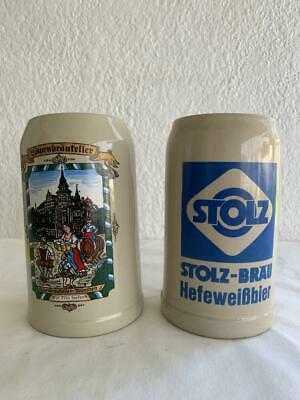 2 Collectable Vintage German Tall Beer Stein Pitcher Mugs Barware
