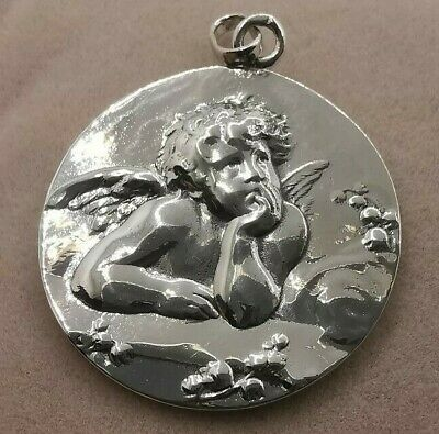 French Antique Religious Catholic Medal Angel cherub Angelot, in sterling silver