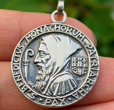 French Antique Religious Catholic Medal Saint Benedict exorcism PAX, in silver