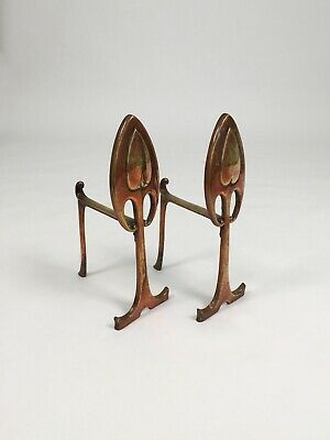Arts and Crafts Movement metal fire dogs vintage antique andirons
