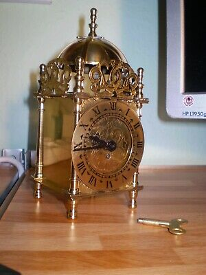 Vintage Smith's Brass 8 Day Mechanical Lantern Carriage Clock