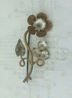 Antique Victorian Flower Brooch Pin Arts Crafts Copper paste Leaf Old Nouveau