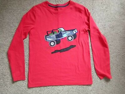 Boys Mini Boden Age 11-12 Years Red King Sleeved Top Truck Applique