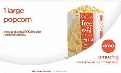 AMC Theaters 1 Large Popcorn - Exp 12/31/2020 - Email Delivery