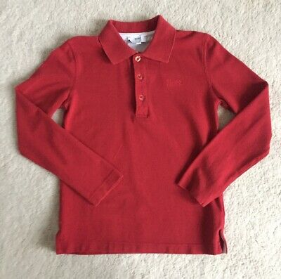 Boys Hugo Boss Red Long Sleeve Polo Top Age 8 Years Slim Fit