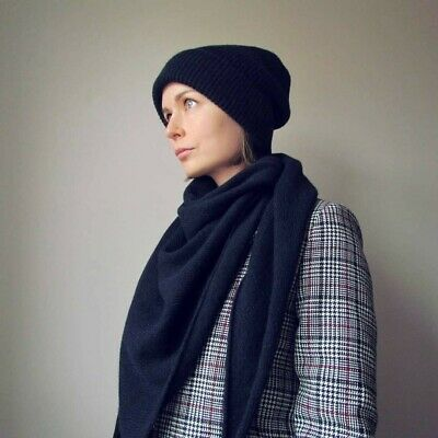 Cashmere/merino wool plain knit scarf. Soft exclusive handmade natural