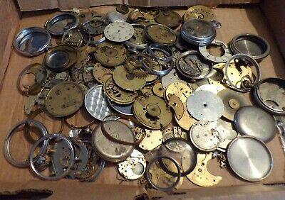 Massive Job Lot Of Antique/Vintage Pocket Watch Parts - For Spares/Repair Only