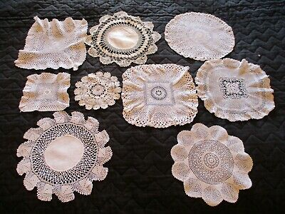 Antique&Vintage Doily Collection of 9, Assorted Hand Embroidered & Lace