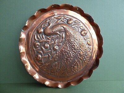 SUPERB Orig ANTIQUE 20thC Arts&Crafts Peacock COPPER Wall hanging CHARGER C1900