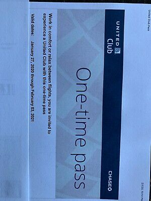 Two (2) United Airlines Club Lounge One-Time Passes EXPIRES February 3 2021