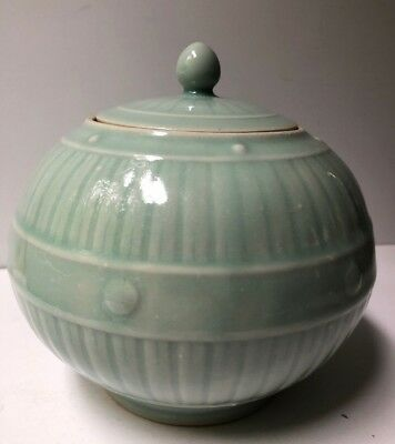 Vintage Chinese Porcelain Celadon Glazed Green Round Covered Ginger Jar Round