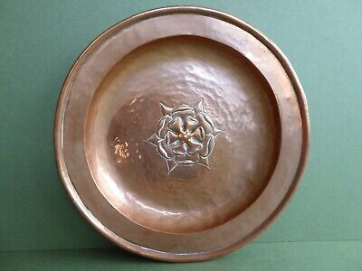 SUPERB Orig ANTIQUE 20thC Arts&Crafts TUDOR ROSE COPPER Wall CHARGER c1910