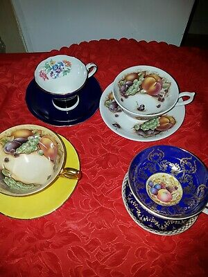 Job Lot Aynsley Orchard Gold   Cups And Saucers.